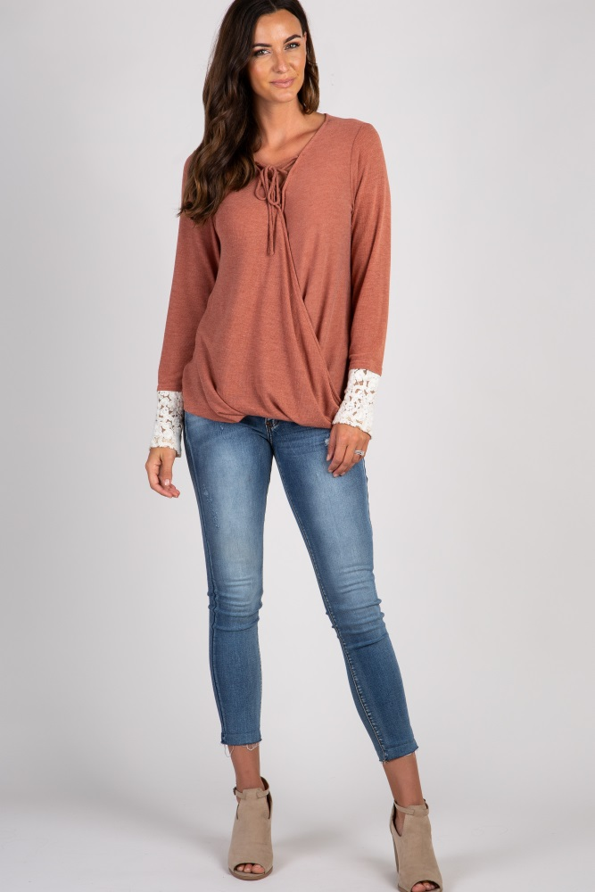 rust lace up wrap top