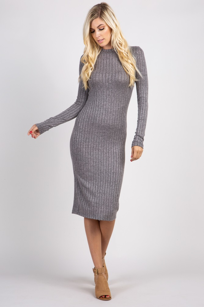 508cfbca728 Grey Heathered Ribbed Maternity Midi Dress