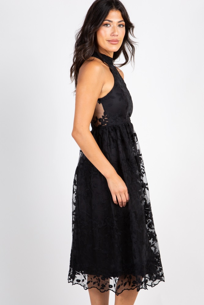 bda241d00813 Black Lace Overlay Halter Neck Midi Dress