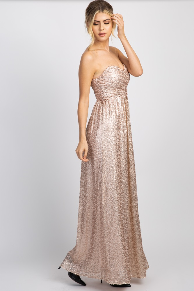 68ef5b04e1 Rose Gold Sweetheart Sequin Maternity Gown