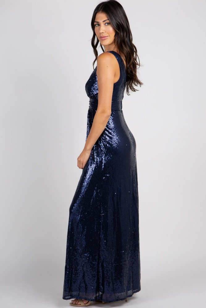 36437dd1c39f1 Navy Blue Sequin Sleeveless Maternity Gown
