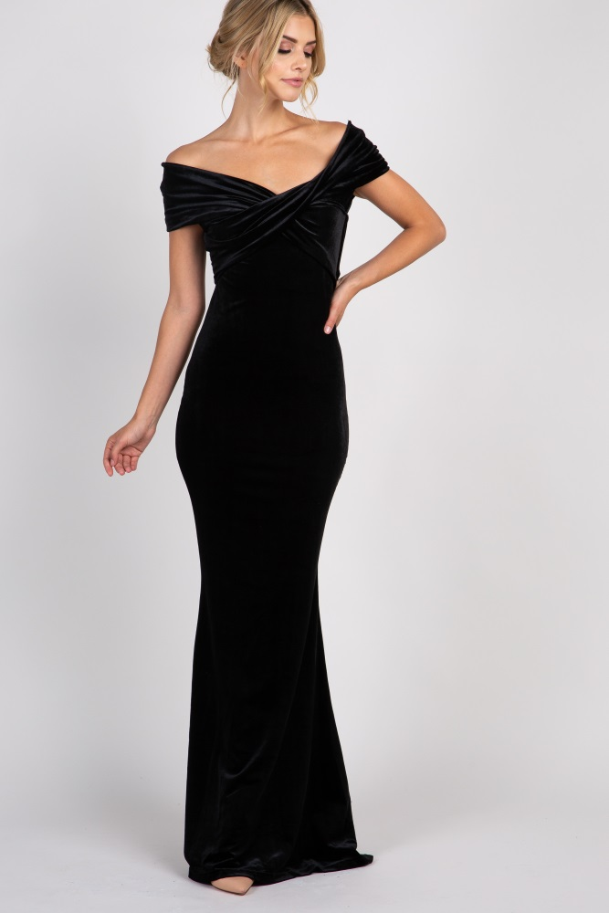 7d98138150a Black Velvet Off Shoulder Mermaid Evening Gown