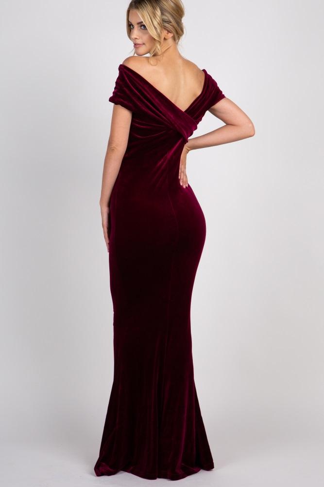 23f4457a1d9 Burgundy Velvet Off Shoulder Mermaid Evening Gown
