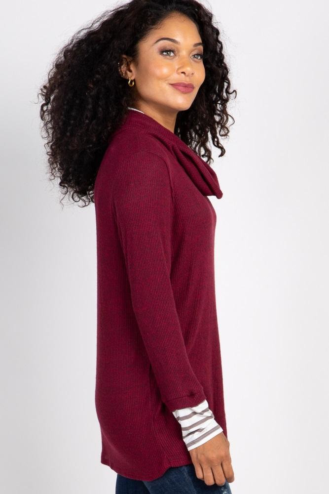 46b824c342f1 Burgundy Striped Cowl Neck Knit Maternity Top