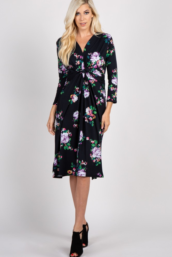 2a16c3a5a8fb7 Black Floral 3/4 Sleeve Knot Front Maternity Midi Dress