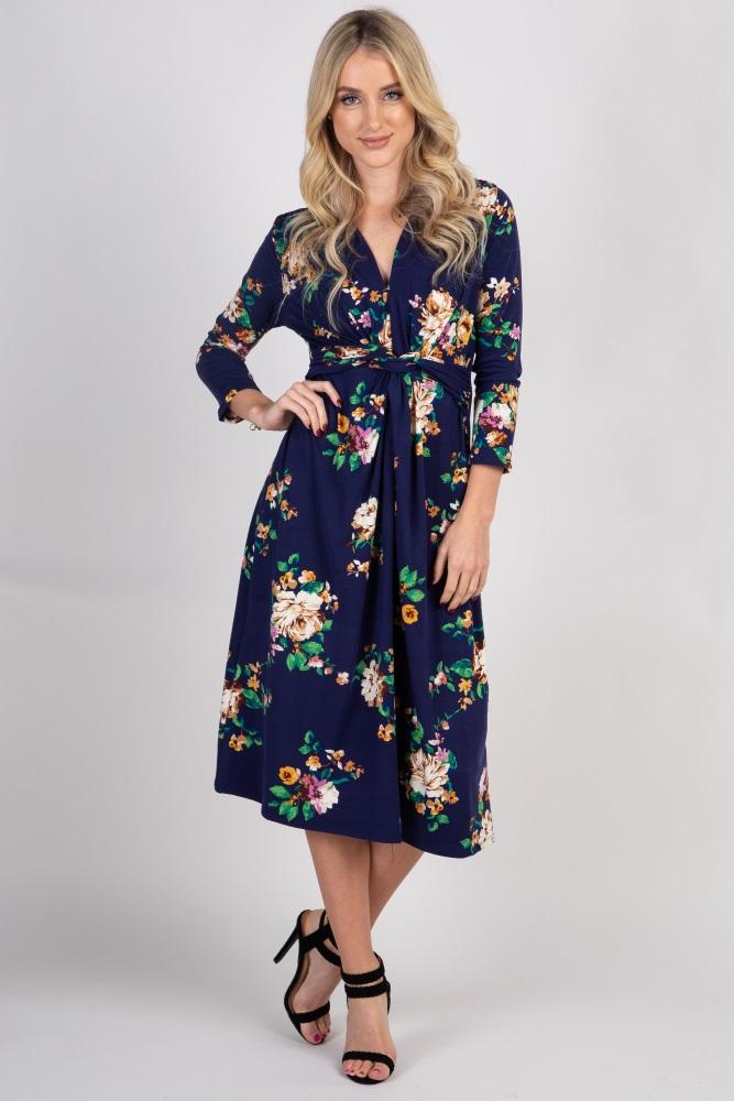 64c53f19e65 Navy Blue Floral 3 4 Sleeve Knot Front Maternity Midi Dress