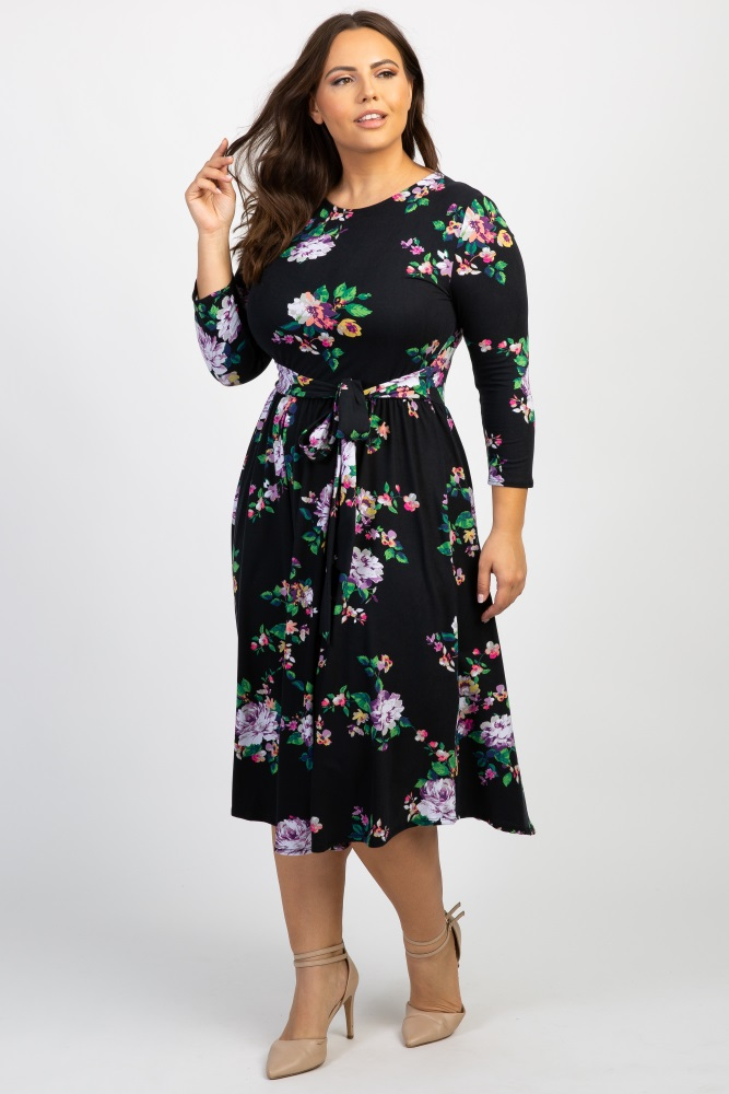 5acc2b727de36 Black Floral Front Tie Maternity Plus Midi Dress