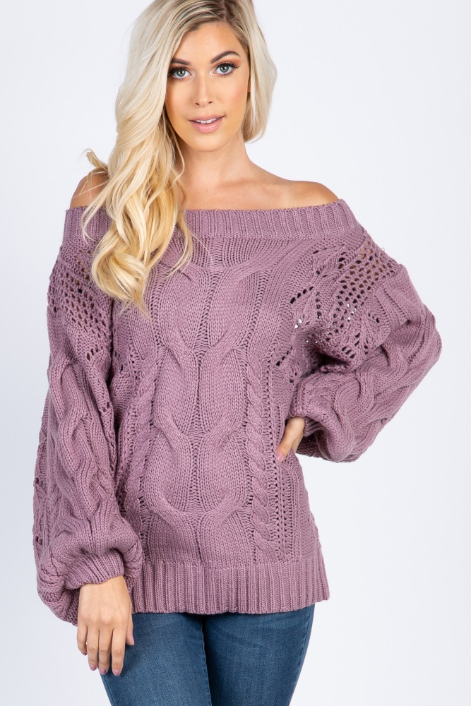 8fac0b1ada264 Purple Cable Knit Off The Shoulder Maternity Sweater