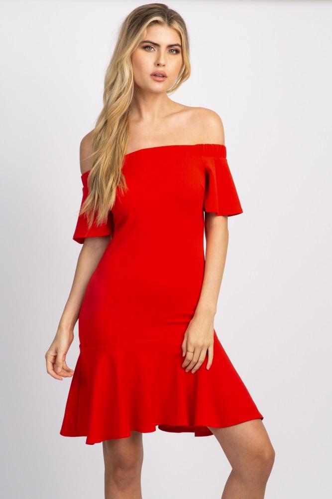 3f5110eb1b Red Off Shoulder Mermaid Maternity Dress