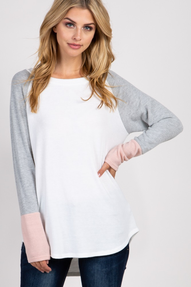 light pink solid colorblock sleeve top