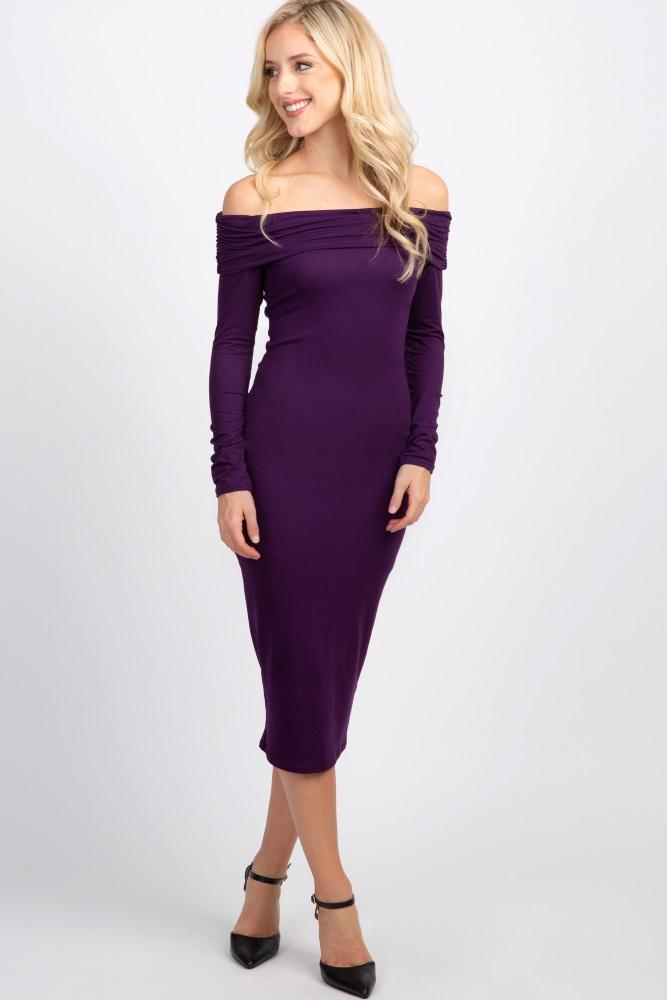826515f02e47 Plum Off Shoulder Maternity Midi Dress