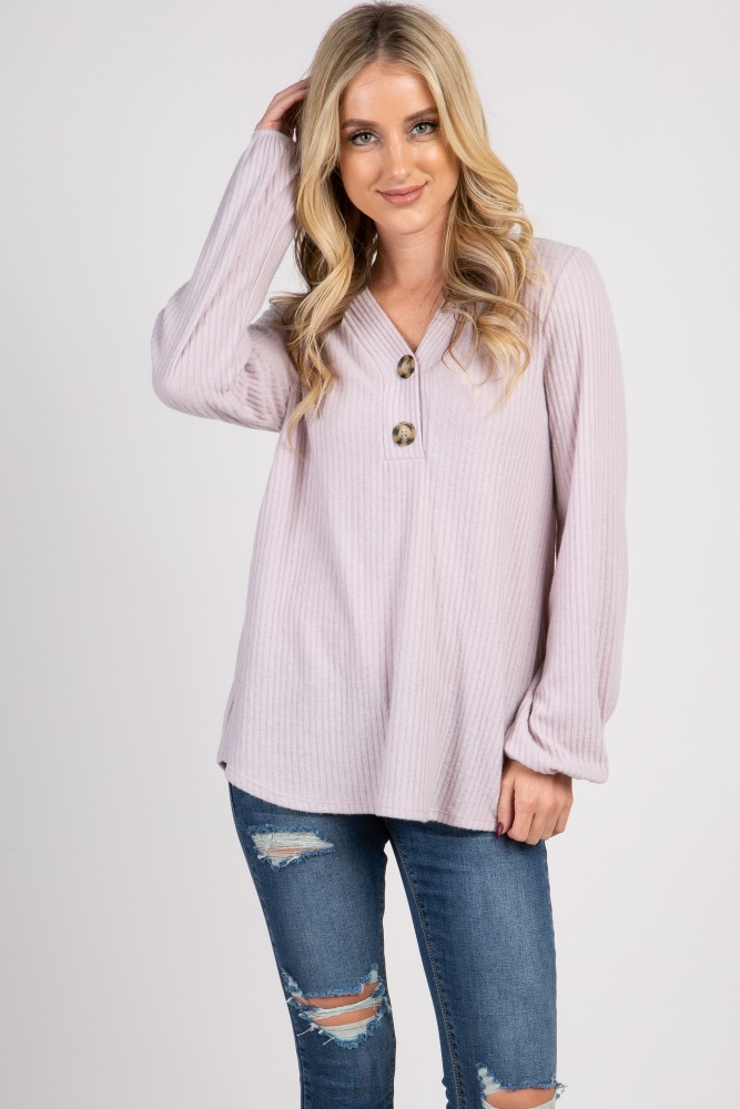 light pink soft ribbed knit top