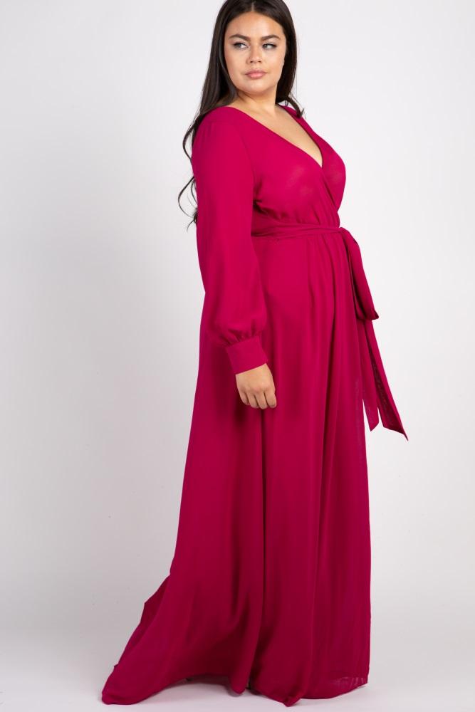 Fuchsia Chiffon Long Sleeve Pleated Plus Maxi Dress