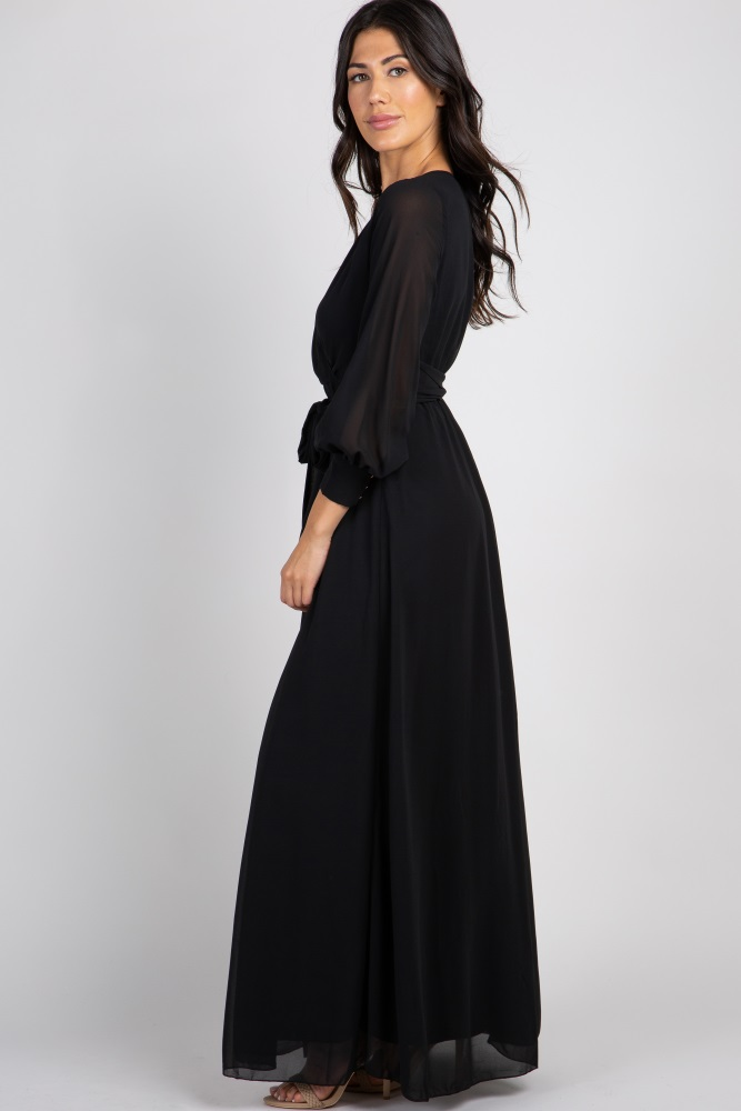 3cf81b6db9e Black Chiffon Long Sleeve Pleated Maternity Maxi Dress