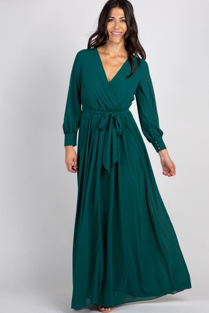 3f7f3105dfe11 Green Chiffon Long Sleeve Pleated Maternity Maxi Dress
