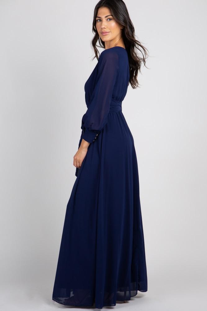 e9ea0d5e67f4 Navy Chiffon Long Sleeve Pleated Maternity Maxi Dress