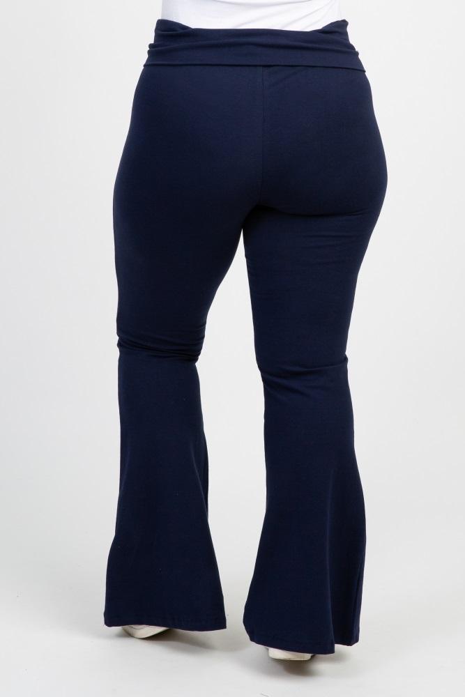 3014ea3113db0 Navy Blue Foldover Full Length Maternity Plus Leggings