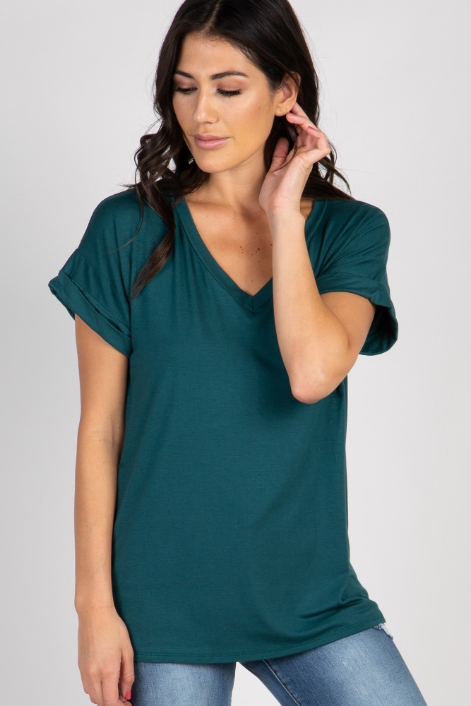 forest green v-neck pocket accent top