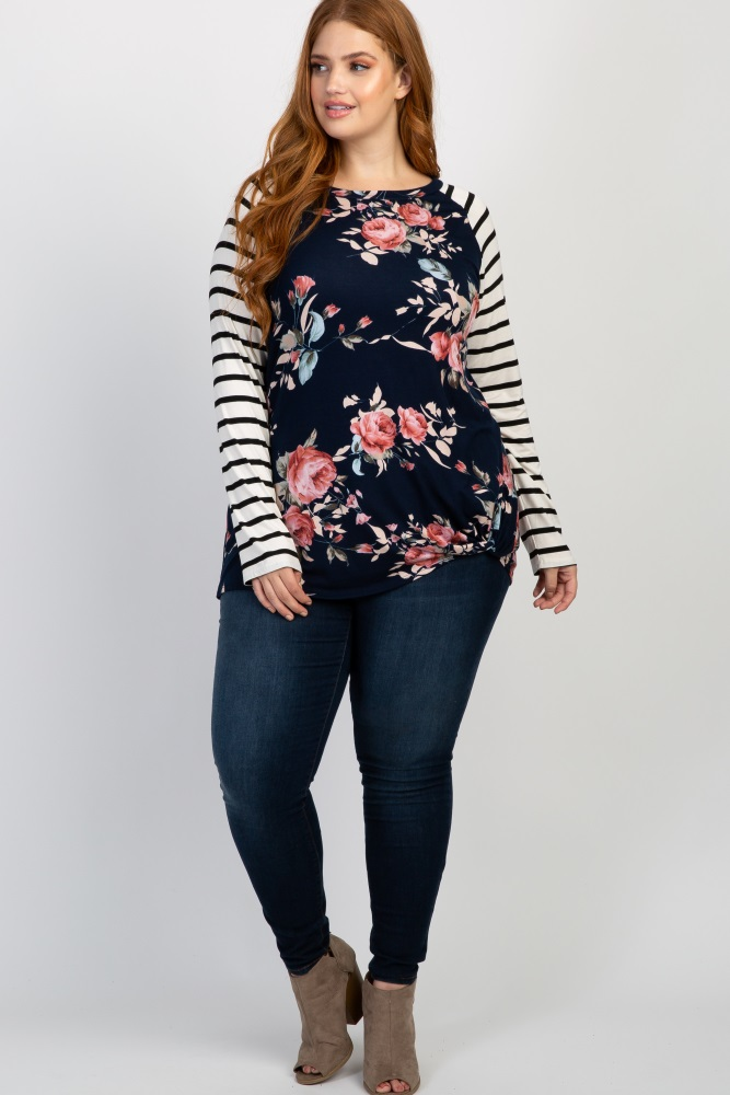 436a8753d1e63 Navy Blue Floral Striped Sleeve Maternity Knot Plus Top