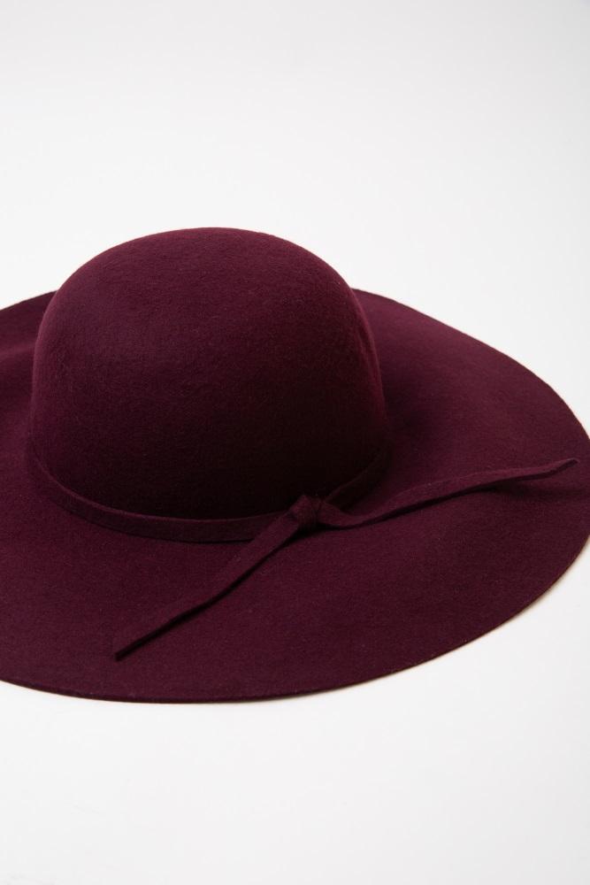 35fc535df1287 Burgundy Soft Wide Brim Self Tie Floppy Hat