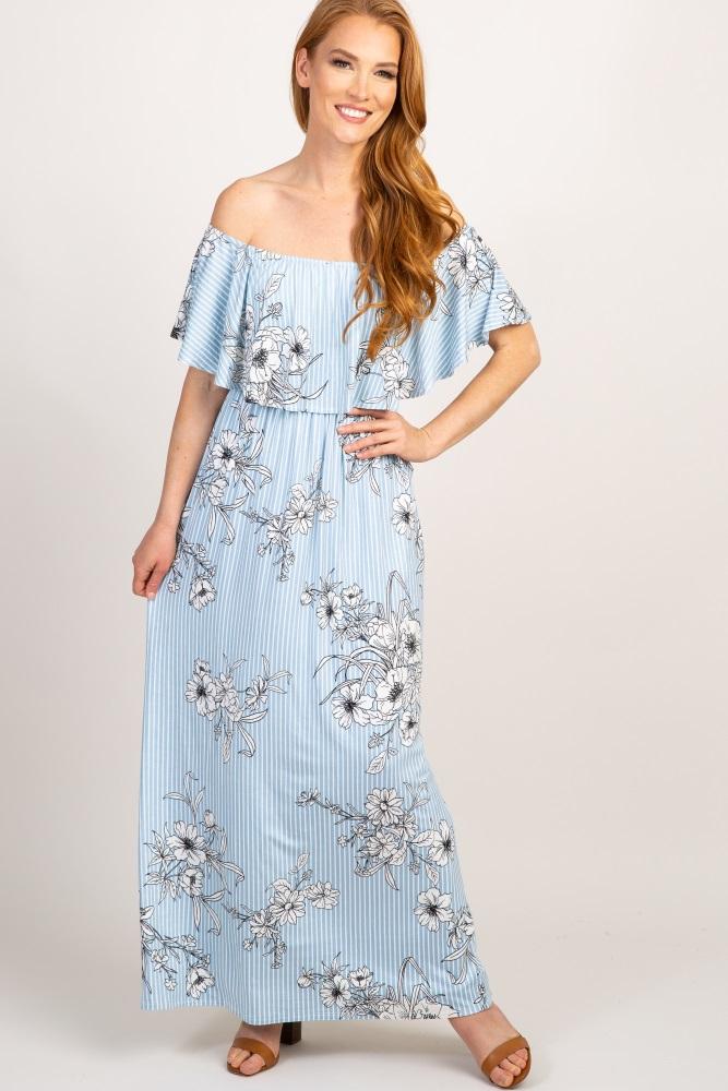 98599c9d8f890 Blue Striped Floral Print Ruffle Off Shoulder Maternity Maxi Dress