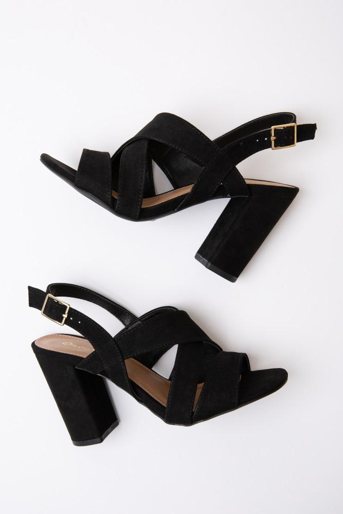 65c471c58d Black Suede Thick Strap Cross Front Heels