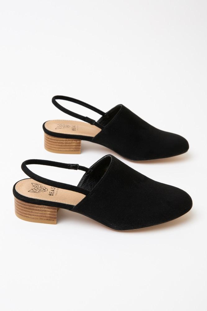 96477351b925b Black Faux Suede Ankle Strap Mule