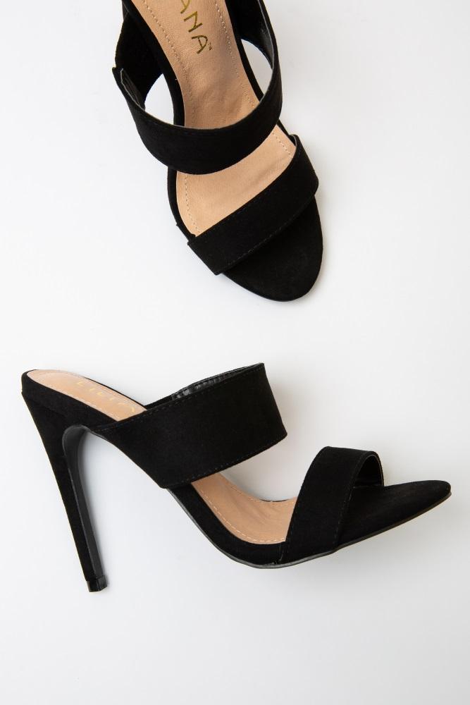 7b4b2822ed22f Black Faux Suede Double Strap Open Toe Heels