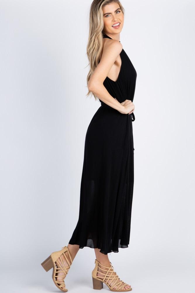 4a502240e Black Halter Neck Waist Tie Maxi Dress