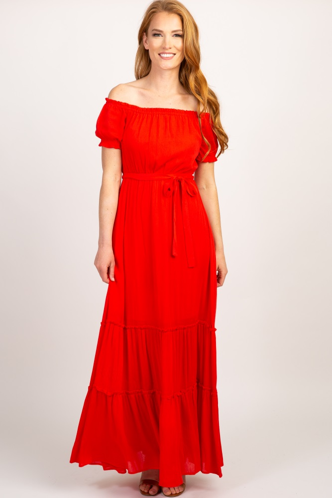 12f90d747b Red Solid Off Shoulder Ruffle Sleeve Maxi Dress