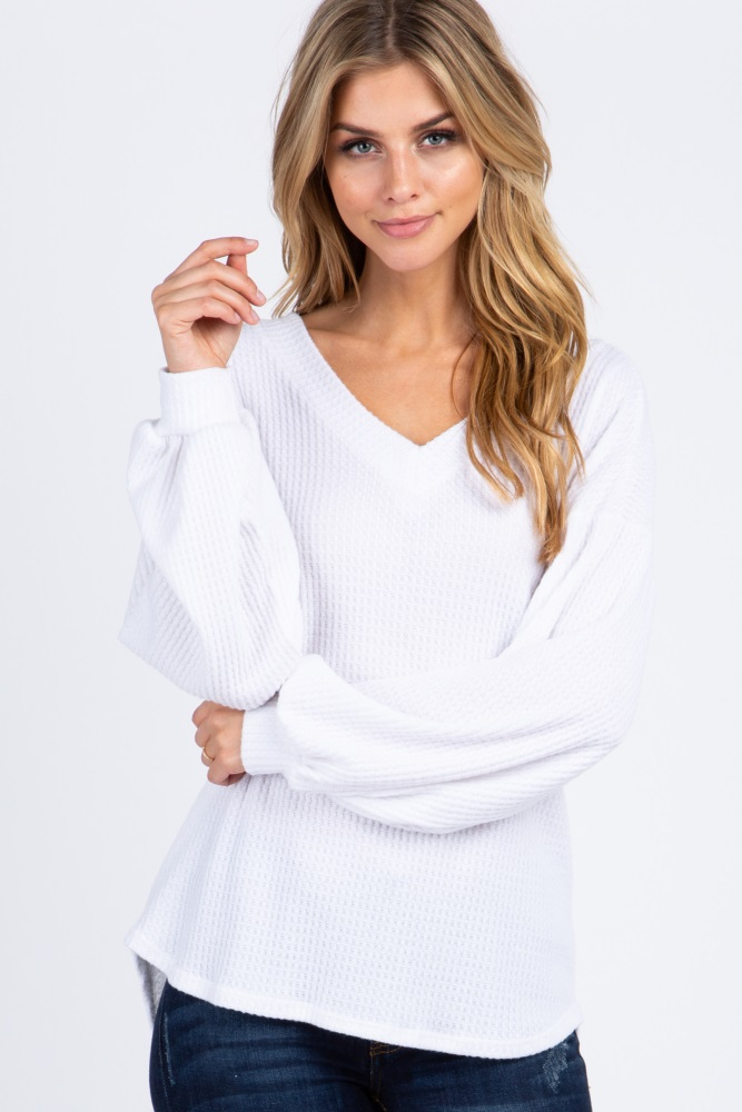 ivory double v-neck soft waffle knit long sleeve top
