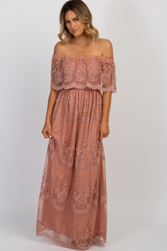Light Pink Lace Mesh Overlay Off Shoulder Maxi Dress