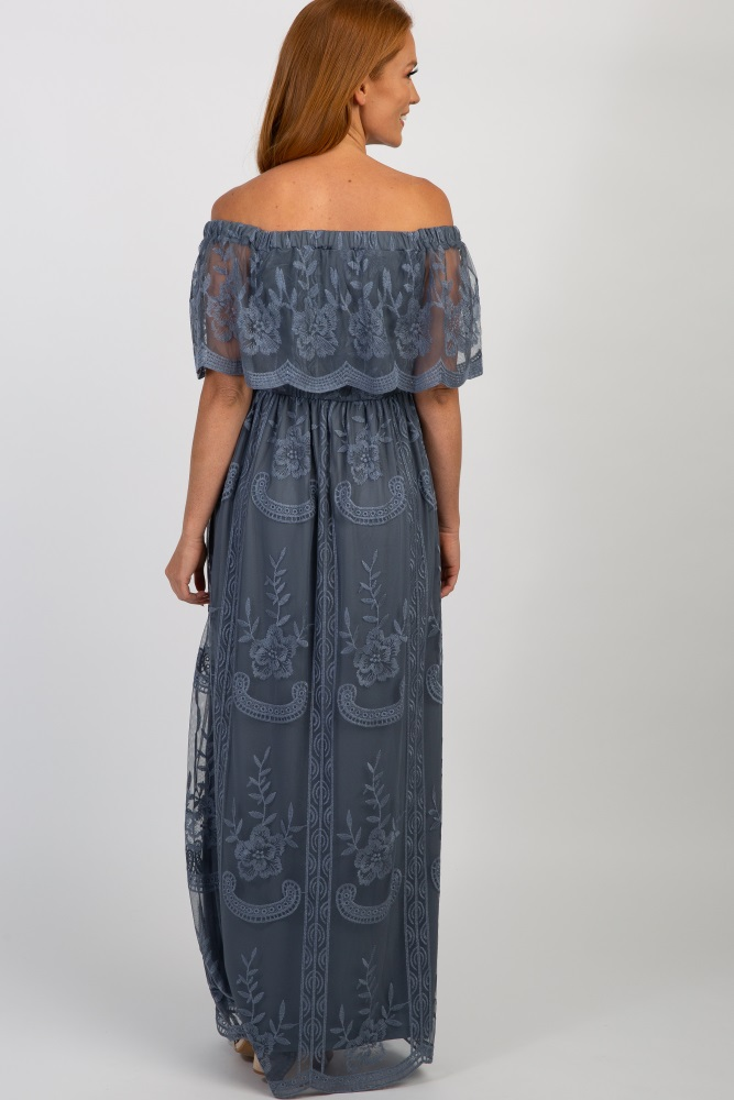 29734ae7af9e8 Blue Lace Mesh Overlay Off Shoulder Maternity Maxi Dress
