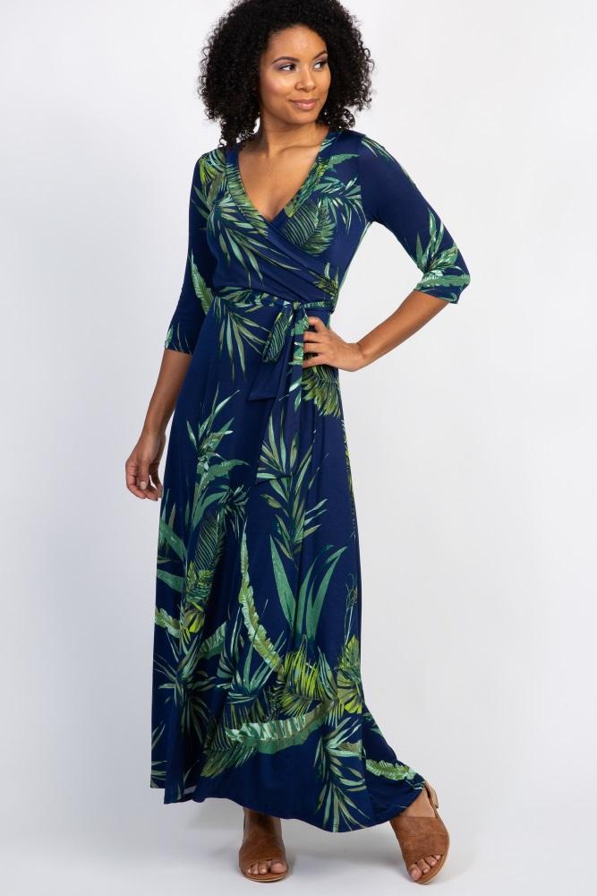 2e488c6a275 Navy Palm Leaf Print Maternity Nursing Maxi Dress