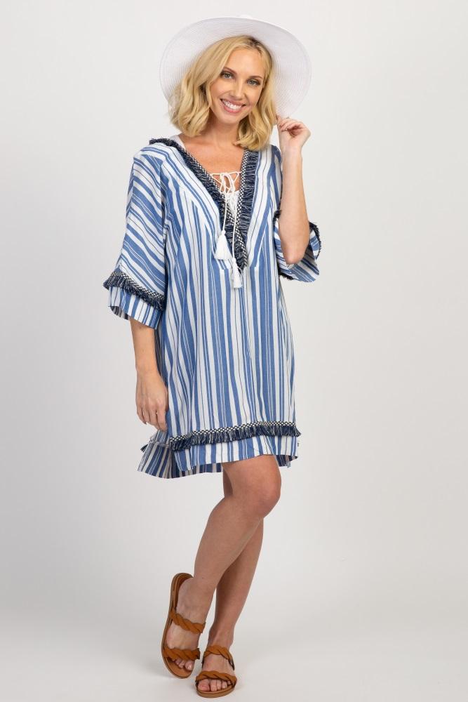 12d31919473 Blue Striped Fringe Trim Maternity Swimsuit Cover Up