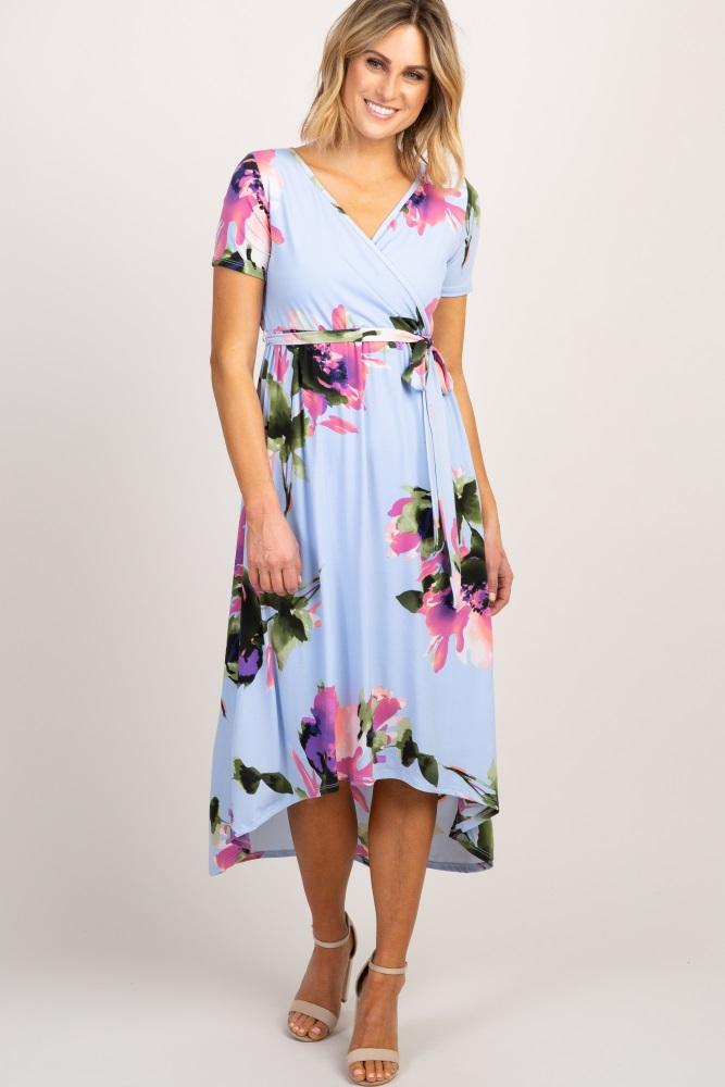 997675e98f2e0 Light Blue Abstract Floral Hi Low Maternity Wrap Dress