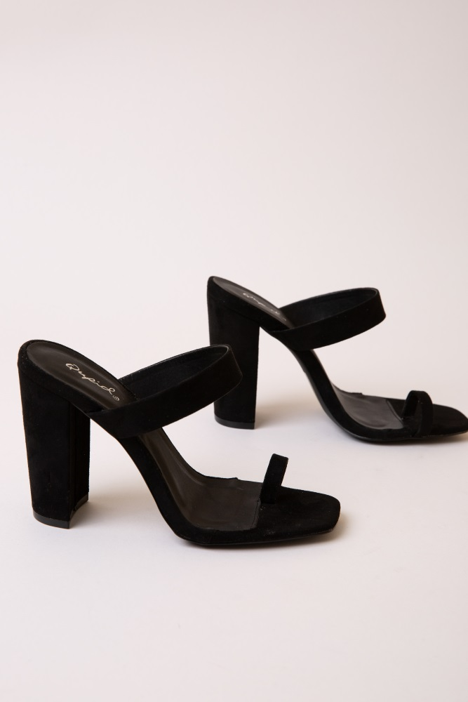 319ac5f59401d Black Faux Suede Toe Strap Chunky Heel