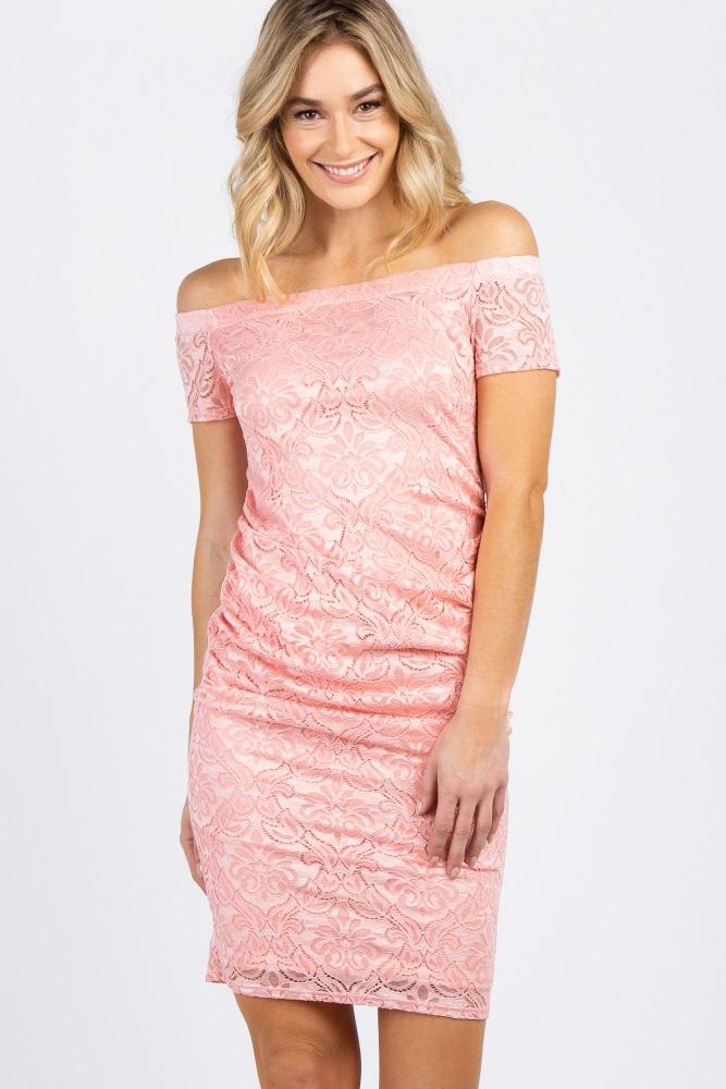 be9708e98c3b Peach Lace Off The Shoulder Maternity Dress