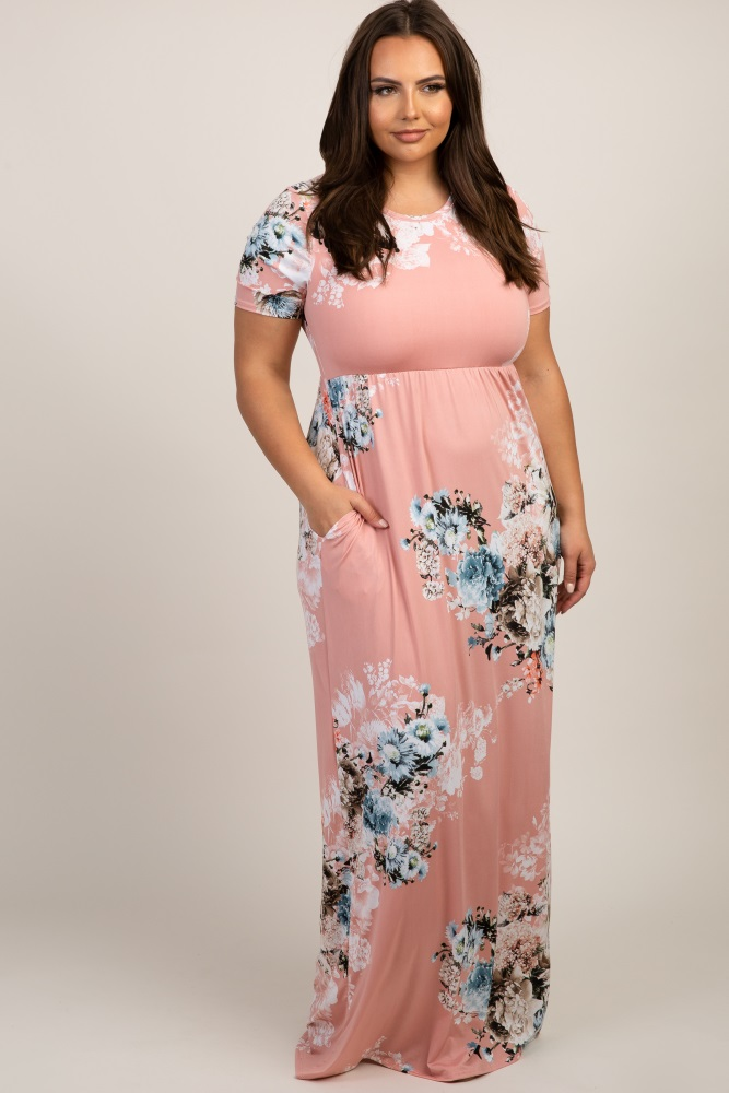 Light Pink Floral Short Sleeve Plus Maxi Dress