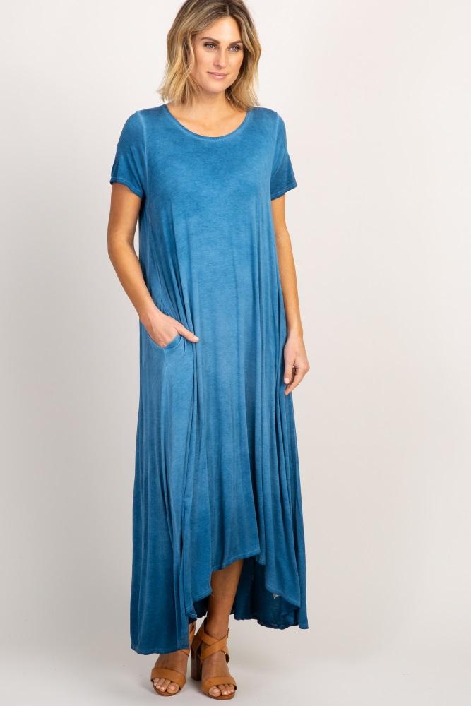 blue tie dye hi-low maxi dress