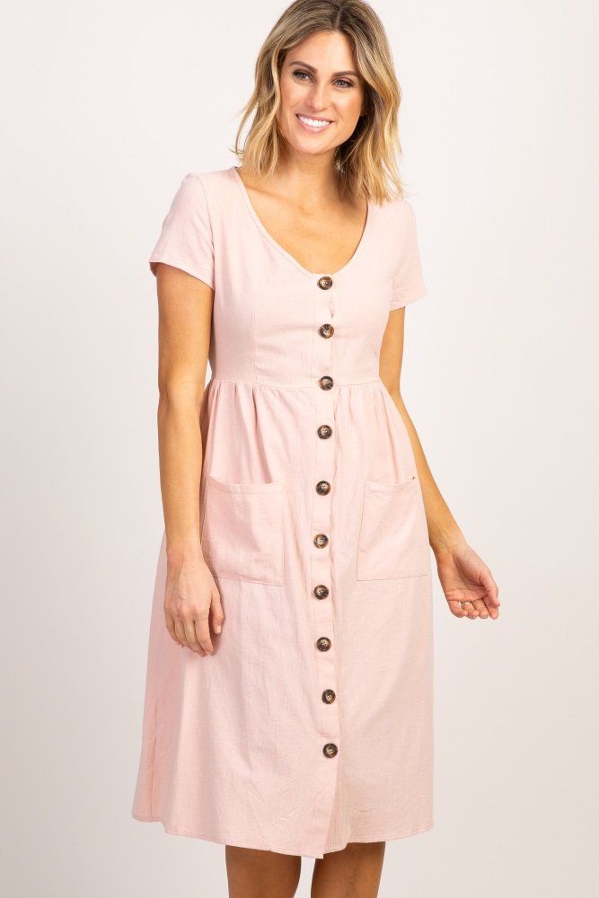 f69d8007af17 Light Pink Button Front Maternity Midi Dress