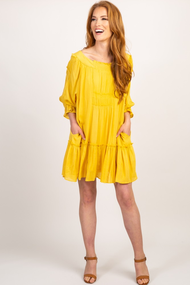 4dc62643d60087 Yellow Ruffle Sleeve Smocked Detail Maternity Dress