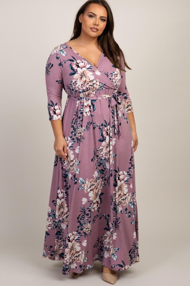df881064481b Pink Floral Sash Tie Plus Maternity/Nursing Wrap Maxi Dress