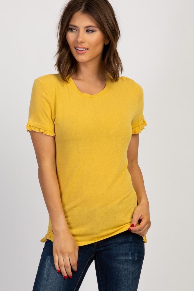 3b08b90e40890 Mustard Solid Ruffle Sleeve Maternity Top