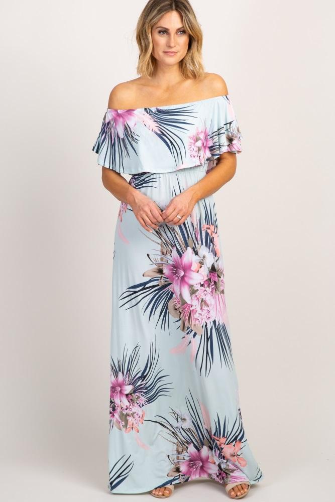 dff04b07a866c Mint Green Floral Ruffle Off Shoulder Maternity Maxi Dress