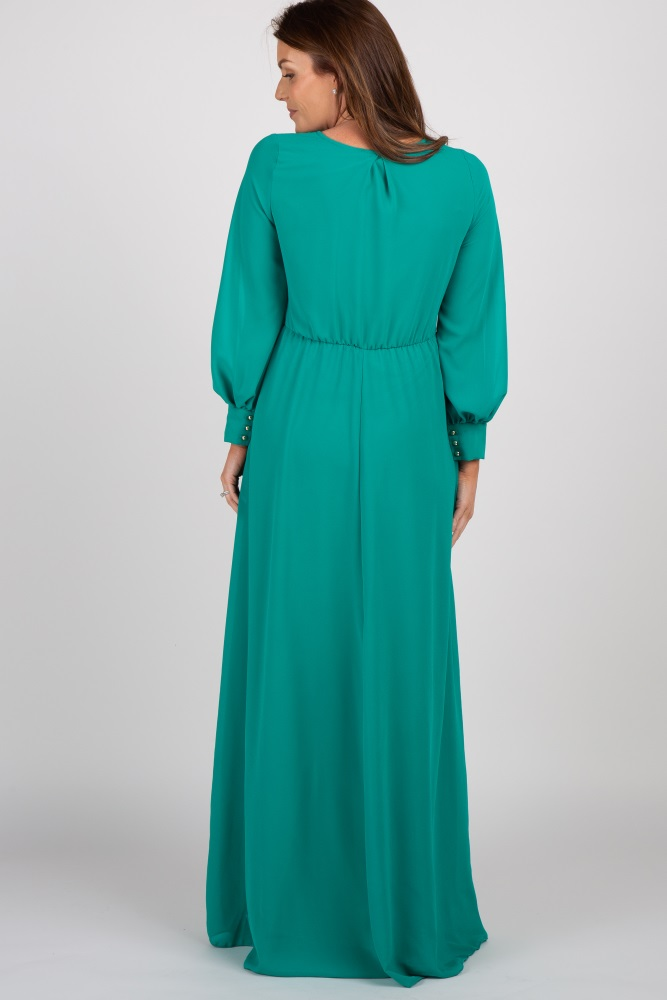 04a8cc10122 Green Chiffon Long Sleeve Pleated Maternity Maxi Dress