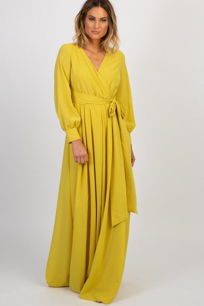 725a4a099e3 Yellow Chiffon Long Sleeve Pleated Maternity Maxi Dress