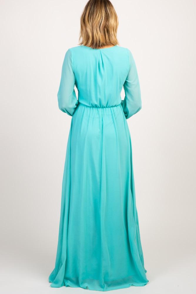 b03b120c0d9 Mint Green Chiffon Long Sleeve Pleated Maternity Maxi Dress