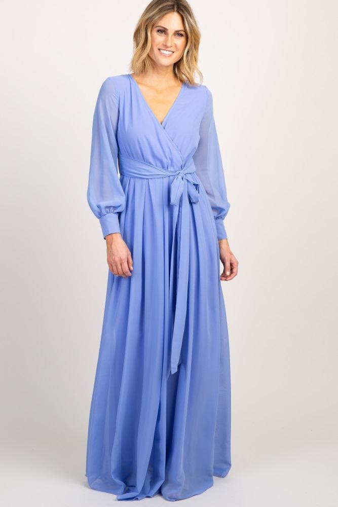 8ae78858141 Periwinkle Chiffon Long Sleeve Pleated Maternity Maxi Dress