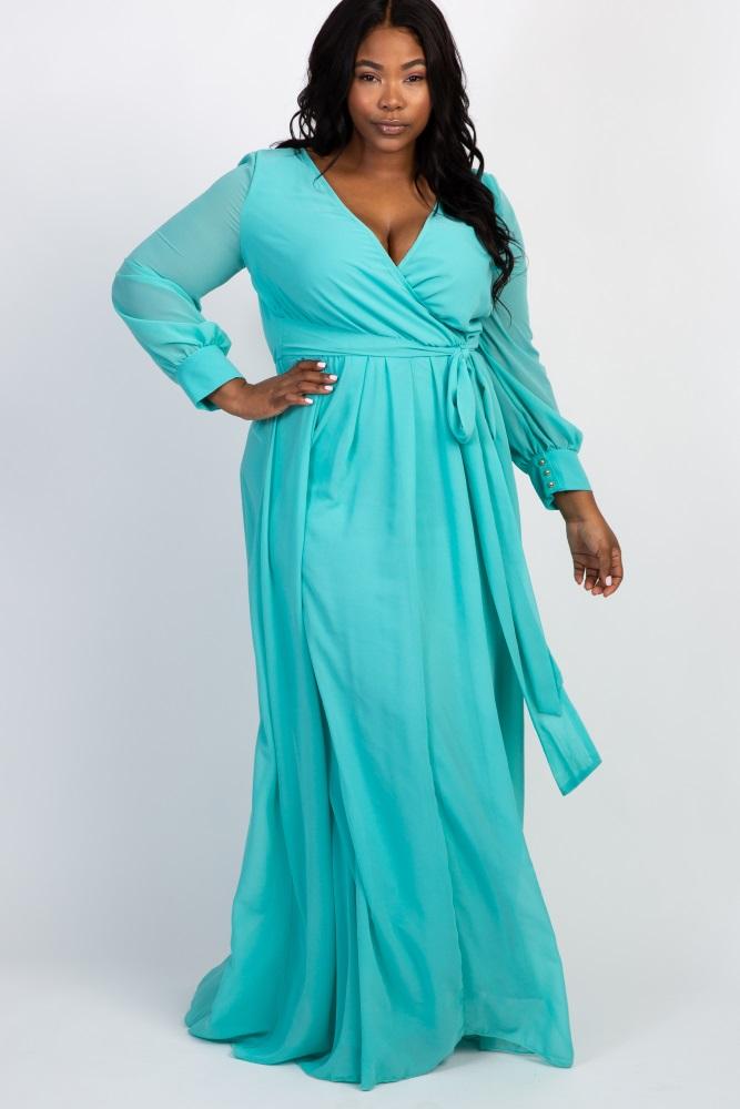 d8909452bfb Mint Green Chiffon Long Sleeve Pleated Plus Maternity Maxi Dress